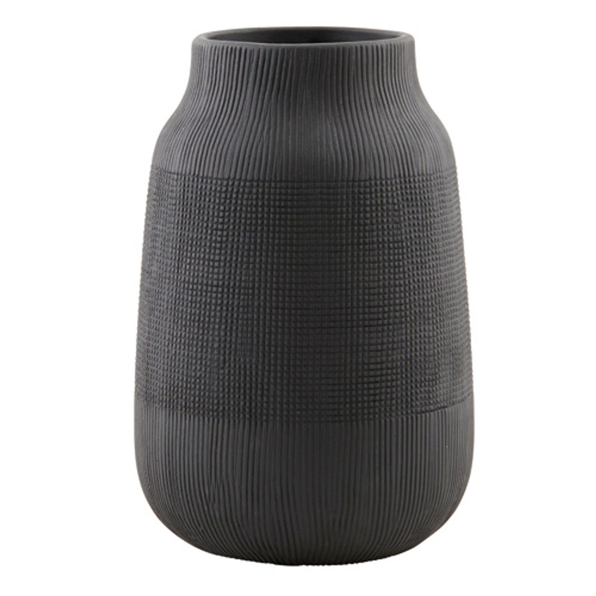 Vase strié en argile couleur noir mat House Doctor - PM