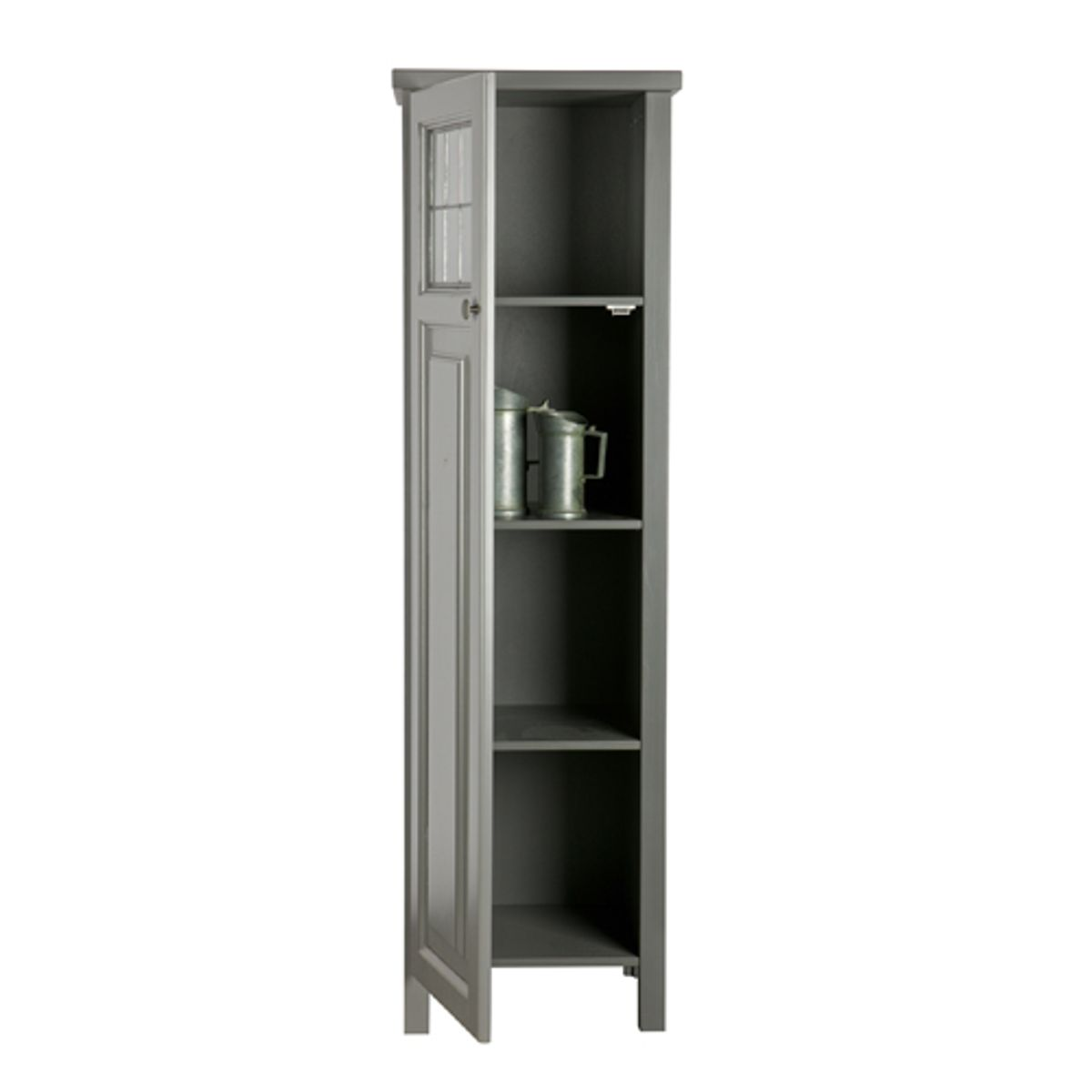 armoire ling re 3 tag res 1 porte pin massif leem gris decoclico. Black Bedroom Furniture Sets. Home Design Ideas