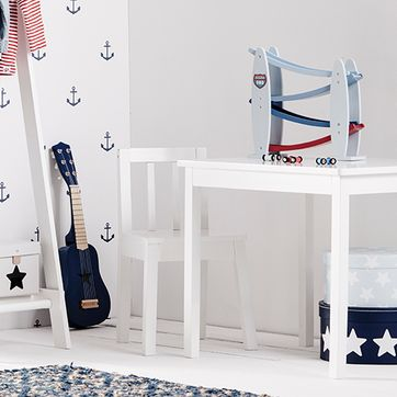 Table en bois blanc Line Kid's Concept