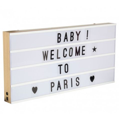 lightbox bo te lumineuse led en bois avec 130 lettres. Black Bedroom Furniture Sets. Home Design Ideas