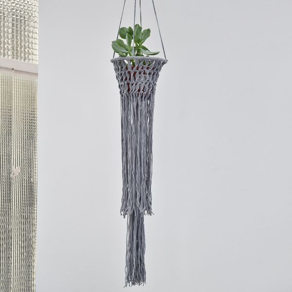 Suspension macramé coton gris Bloomingville