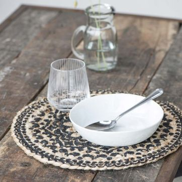 Set de table rond en jute noir et natirel rosace IB Laursen