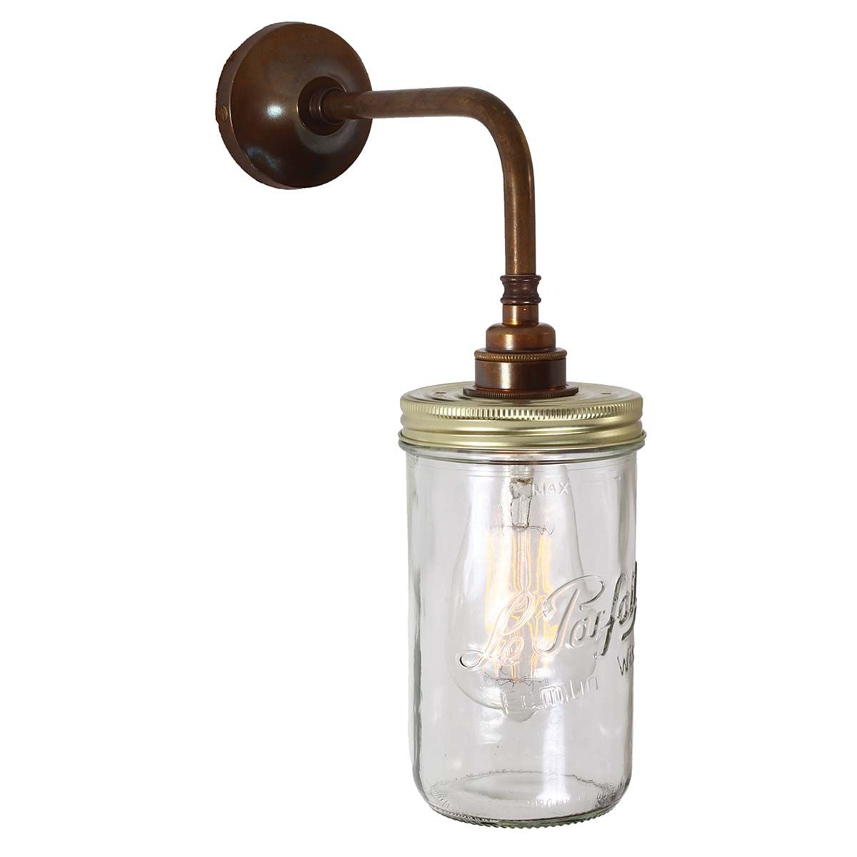 Applique murale bocal Le Parfait en verre et laiton Jam Jar Mullan Lighting