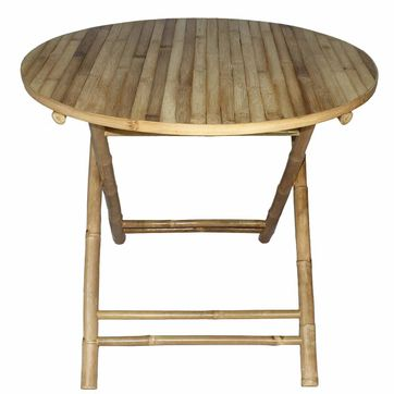 Table de jardin ronde pliante en bambou naturel