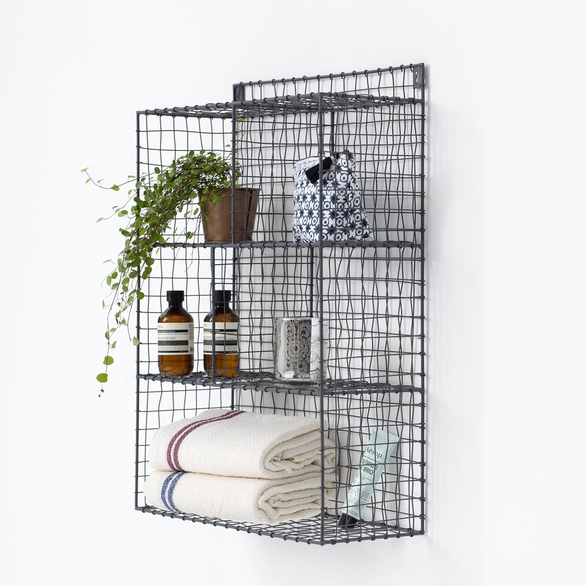 Etagère murale en métal grillagé 5 niches Greed Maison Tilleul - anthracite