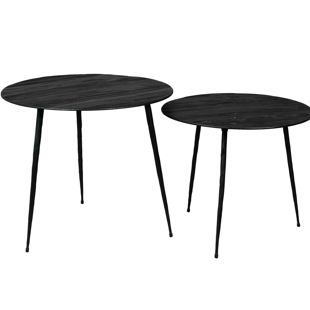 Table basse ronde tripod en acier plaqué pin noir Pepper Dutchbone