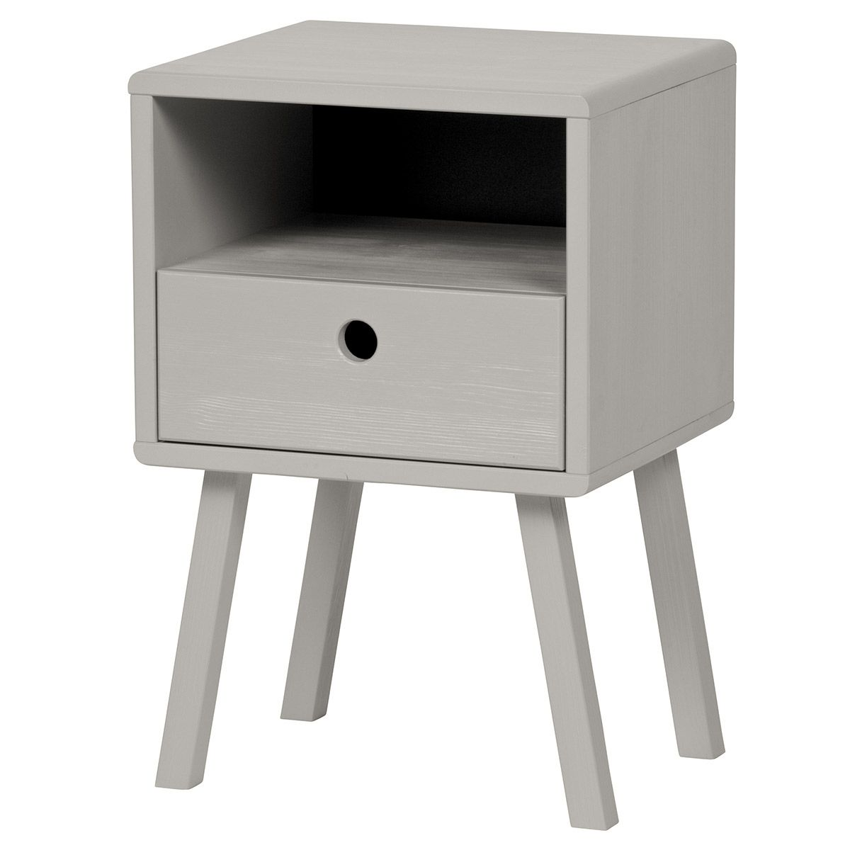Table de chevet en pin brossé FSC 1 tiroir 1 niche Sammie - Gris chaud