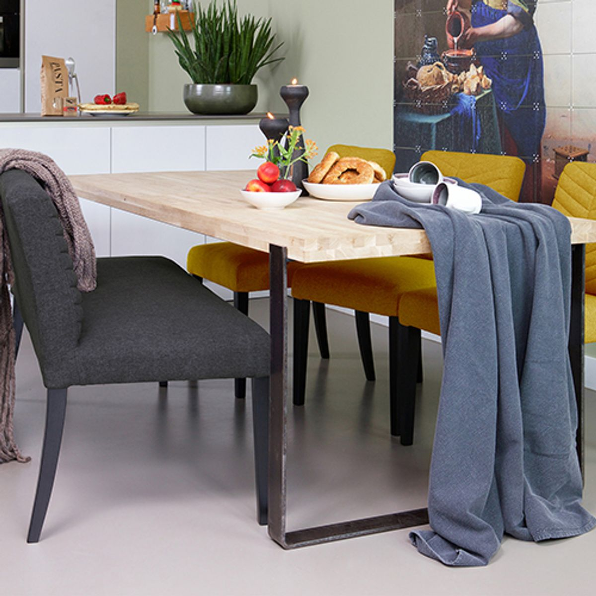 Banquette en tissu polyester couture chevrons Nora  - anthracite
