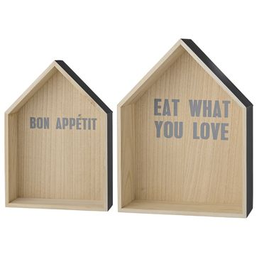 Etagère murale en bois gris Eat What You Love (par 2) Bloomingville
