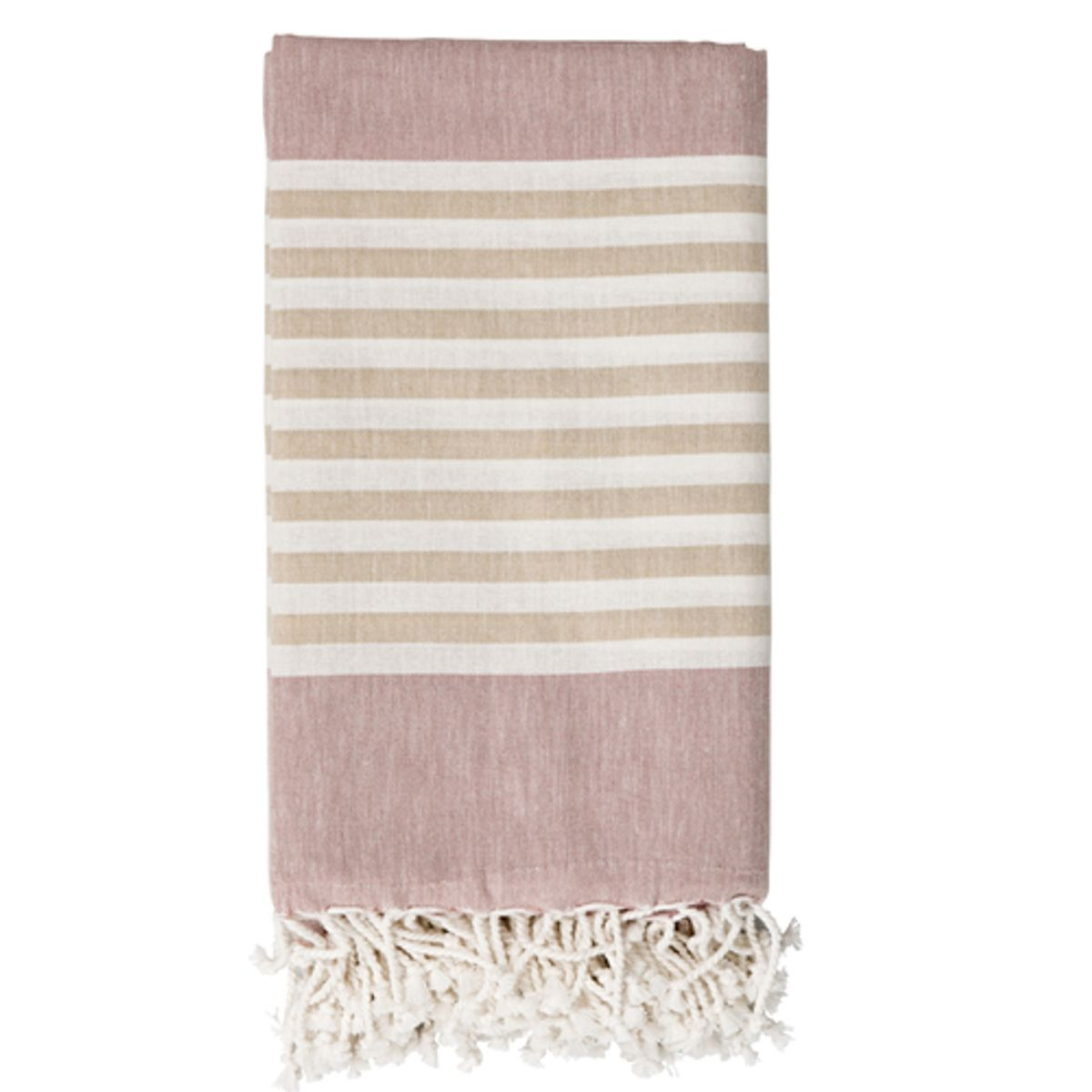 fouta en coton rose poudr ray beige blanc. Black Bedroom Furniture Sets. Home Design Ideas