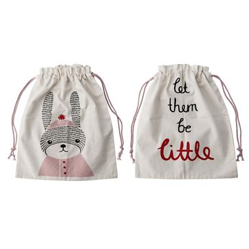 Sac en coton blanc motif lapin Let Them Be Little Bloomingville