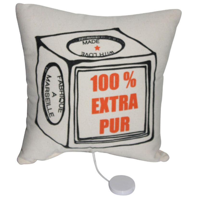 Coussin musical coton extra pur écru orange Annabel Kern