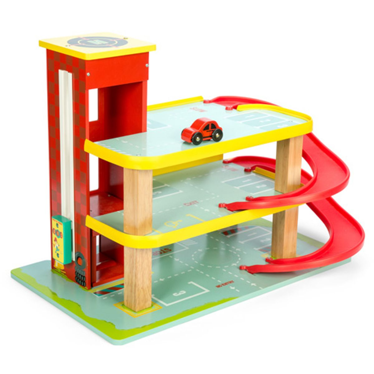 garage en bois rouge pour enfant le garage de dino le toy van decoclico. Black Bedroom Furniture Sets. Home Design Ideas