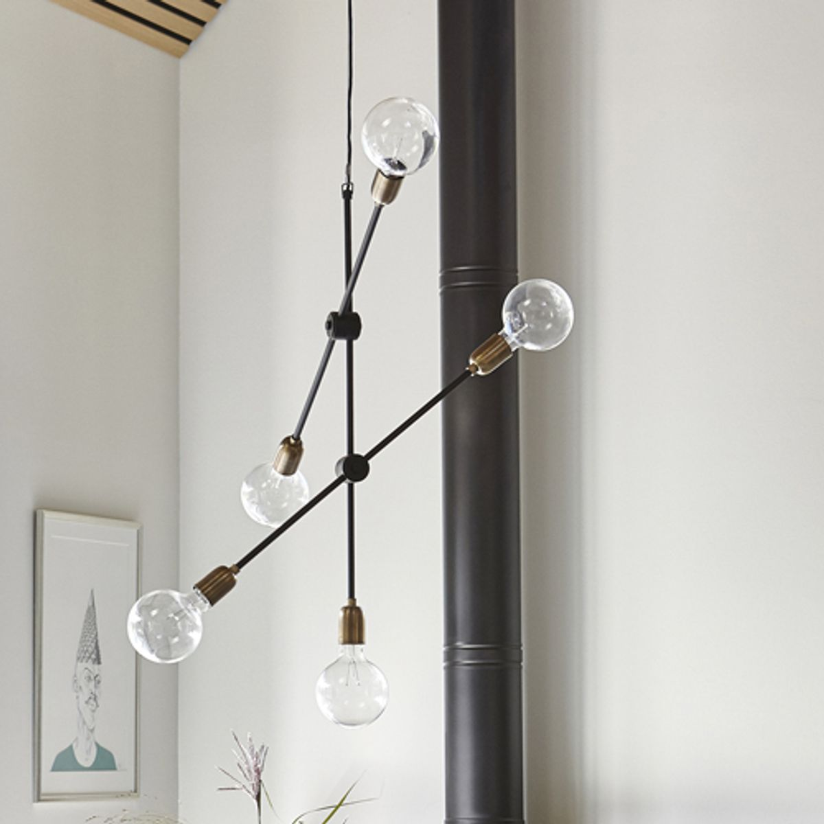 Lustre suspension en m tal et laiton 5 douilles for Lustre 3 suspensions