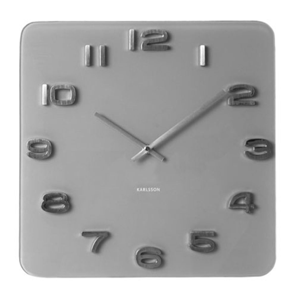 horloge en verre gris carr e vintage karlsson par present time decoclico. Black Bedroom Furniture Sets. Home Design Ideas