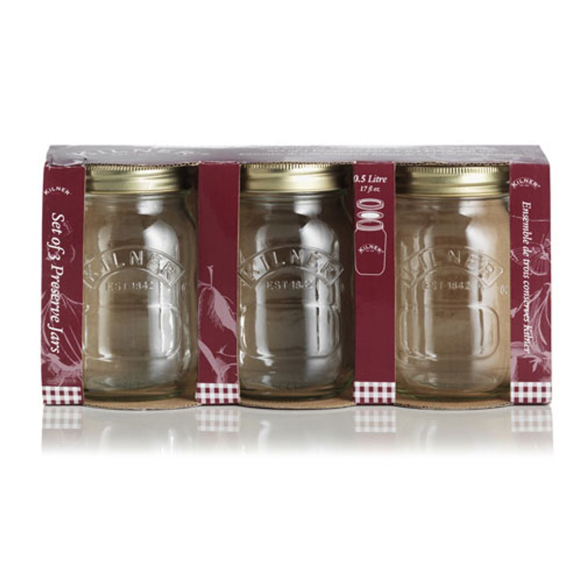 Bocal de conservation verre (lot de 3) fermeture vis Kilner
