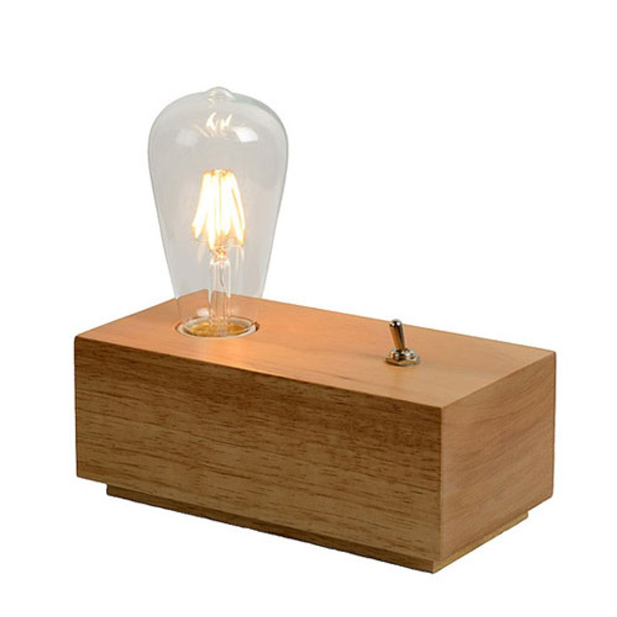 lampe poser socle en bois avec interrupteur edison lucide decoclico. Black Bedroom Furniture Sets. Home Design Ideas