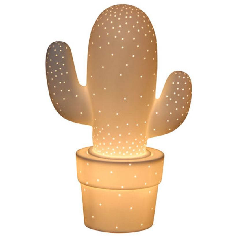 lampe enfant en c ramique blanche avec d tails perfor s cactus decoclico. Black Bedroom Furniture Sets. Home Design Ideas