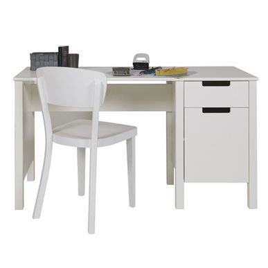 bureau junior en pin massif blanc 1 tiroir et 1 porte avec tag re jade fabricat decoclico. Black Bedroom Furniture Sets. Home Design Ideas