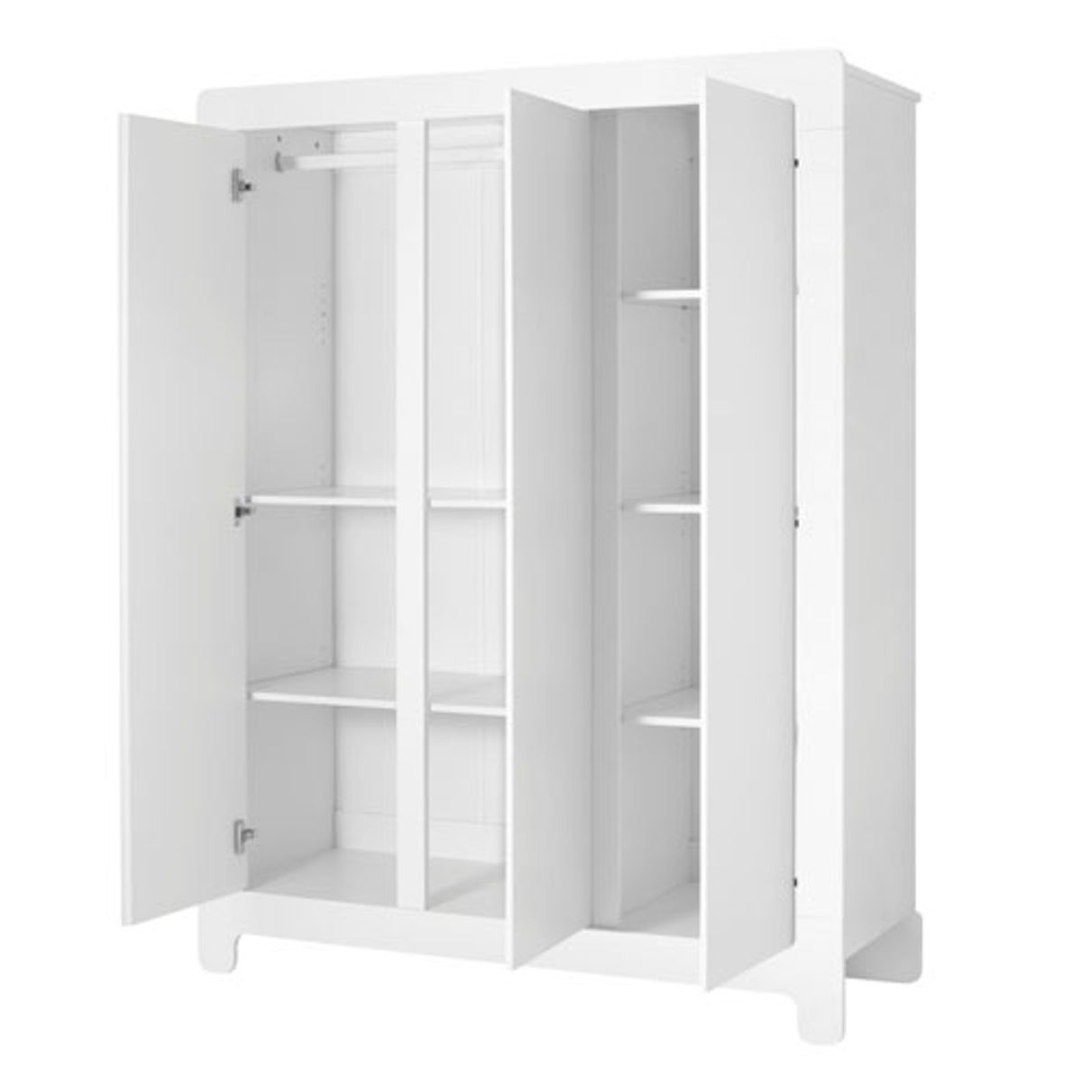 armoire penderie en bois blanc 3 portes 5 tag res moon. Black Bedroom Furniture Sets. Home Design Ideas