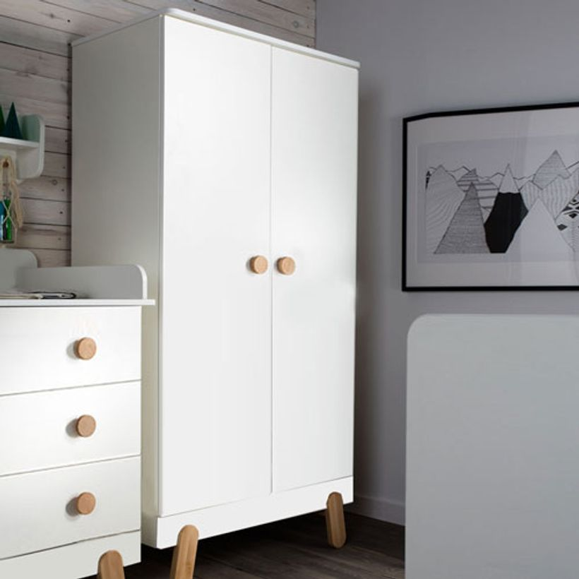 armoire penderie en bois blanc et naturel 2 portes 2. Black Bedroom Furniture Sets. Home Design Ideas