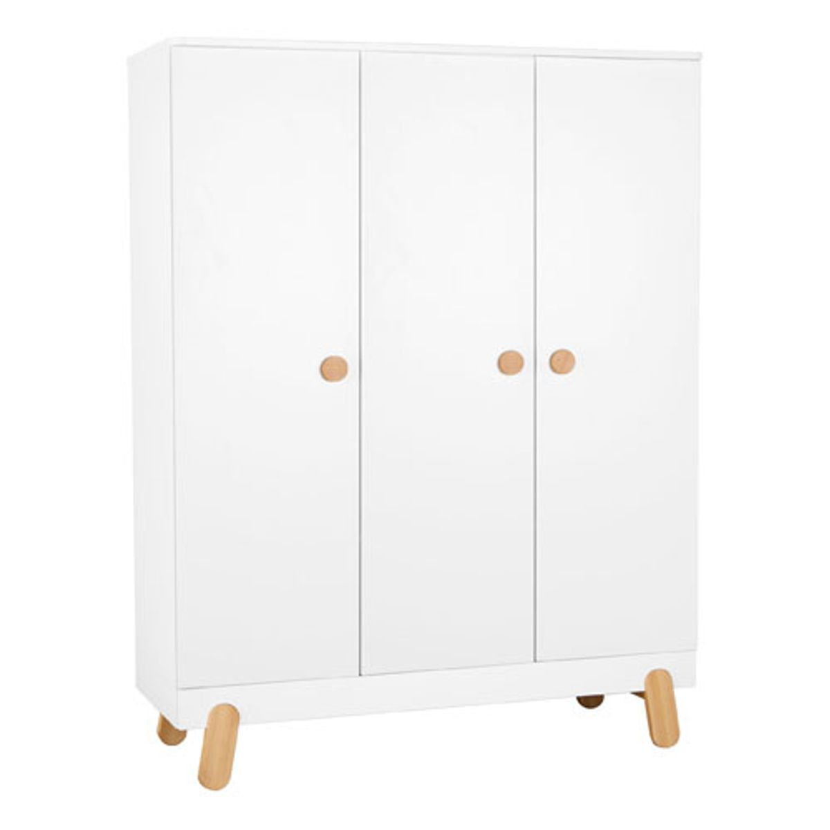 armoire penderie en bois blanc et naturel 3 portes 5 tag res iga pinio decoclico. Black Bedroom Furniture Sets. Home Design Ideas