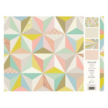 Set de table en papier forme graphique pastel 48 feuillets Mini Labo