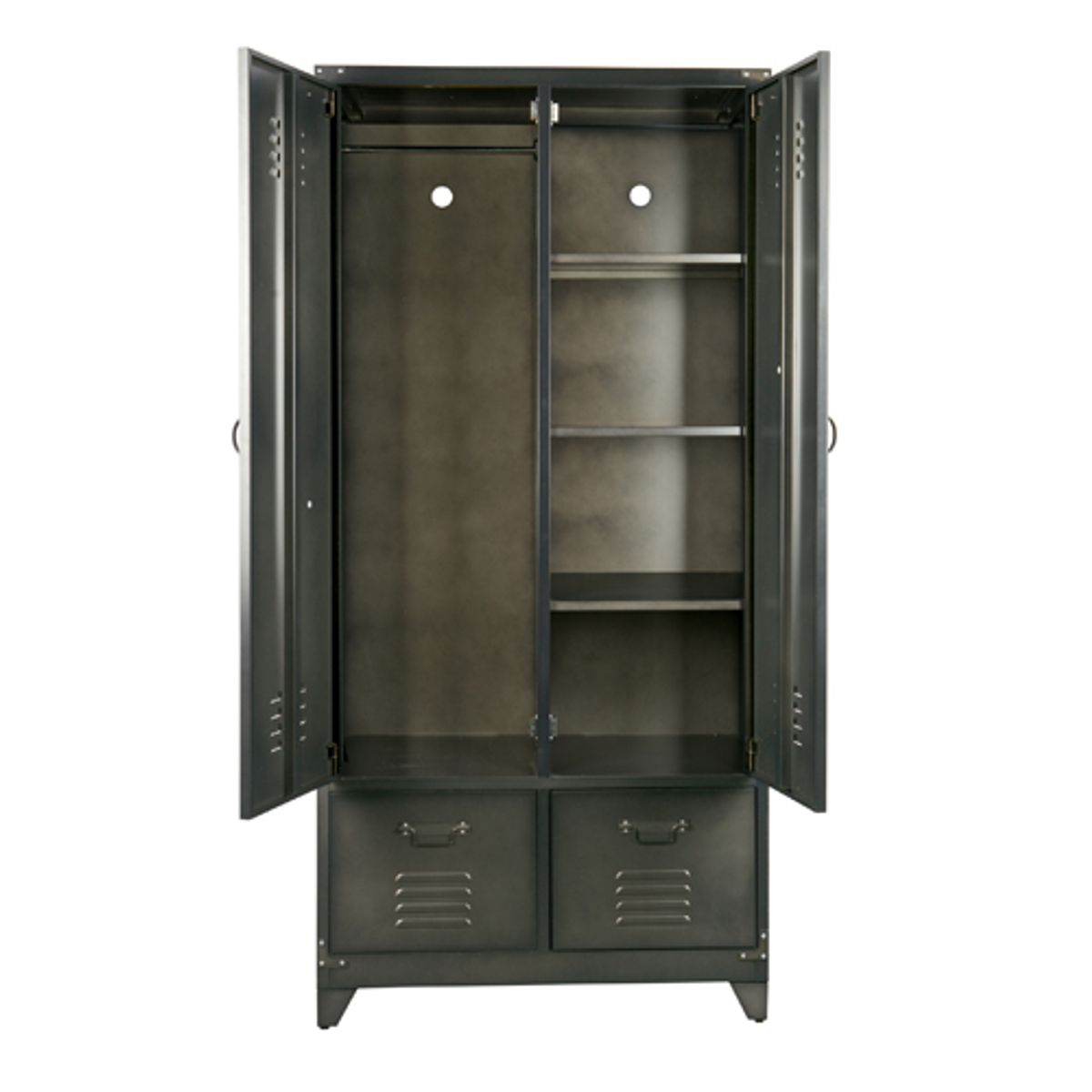 armoire casier m tal noir 1 penderie 3 tag res 2 tiroirs. Black Bedroom Furniture Sets. Home Design Ideas