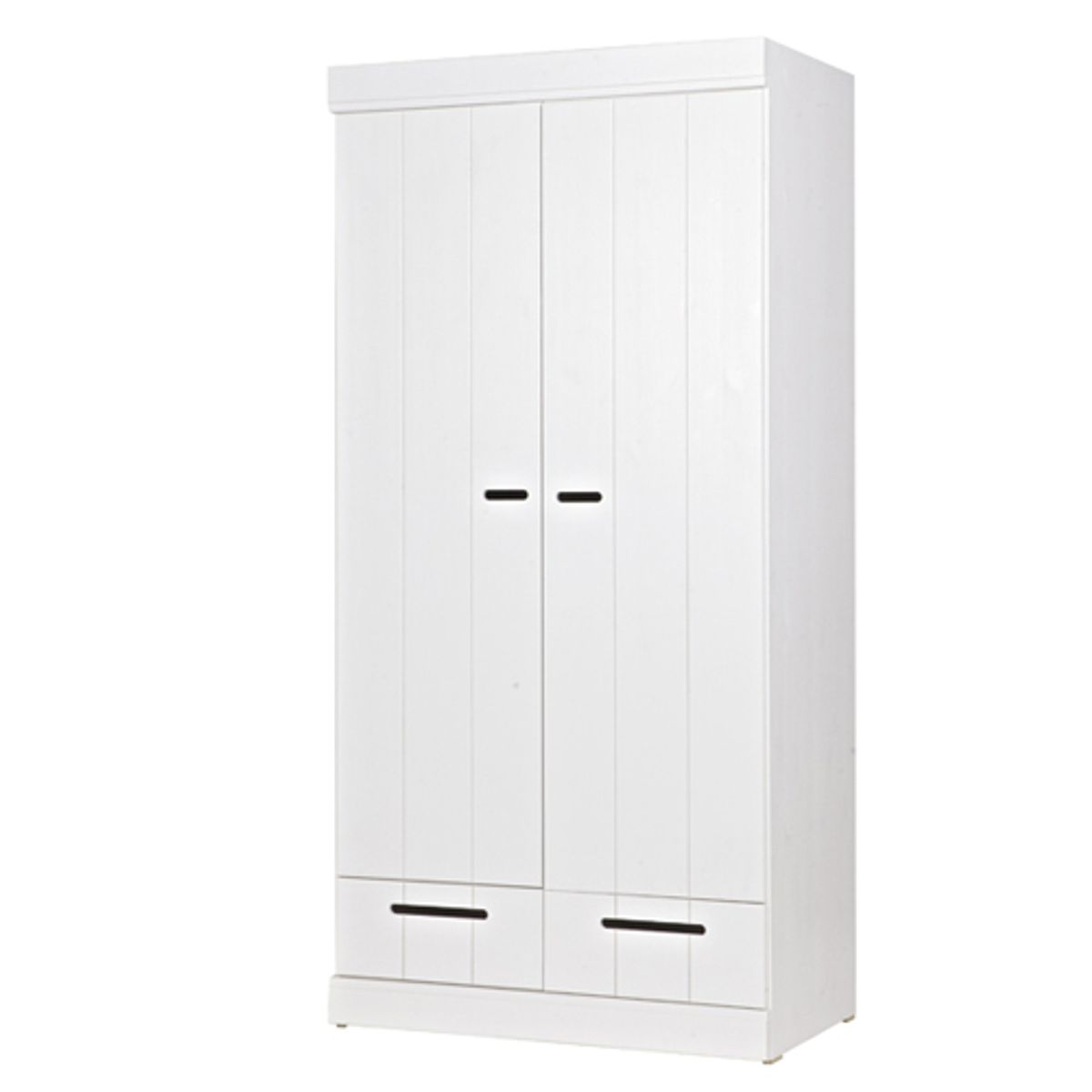 armoire penderie en pin blanc 2p avec tiroirs connect creuse decoclico. Black Bedroom Furniture Sets. Home Design Ideas
