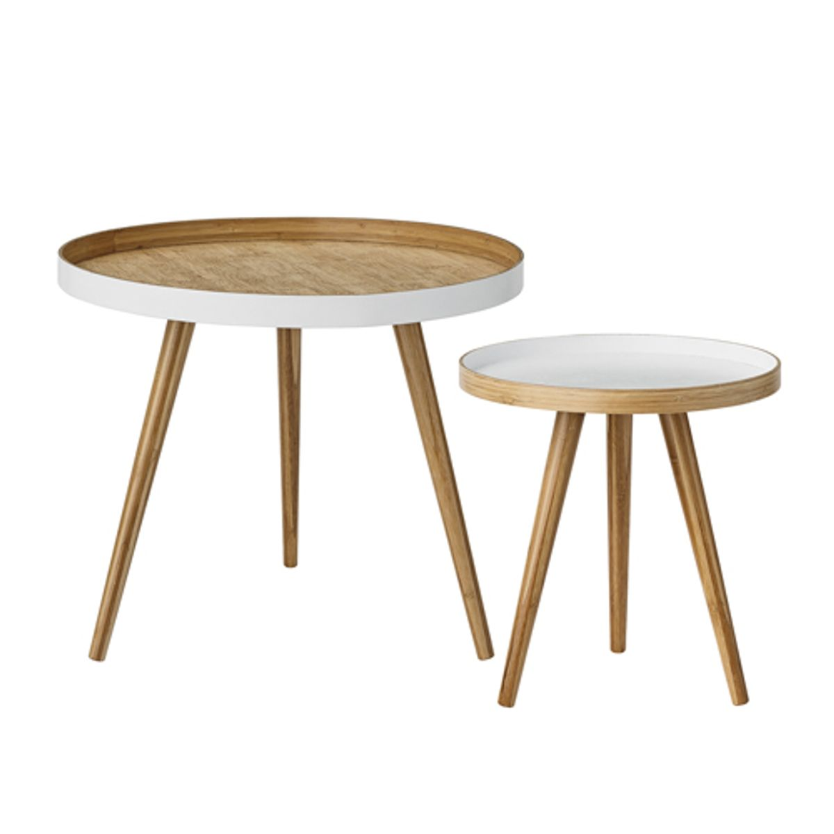 Table basse ronde en bambou naturel et blanc (par 2) Bloomingville