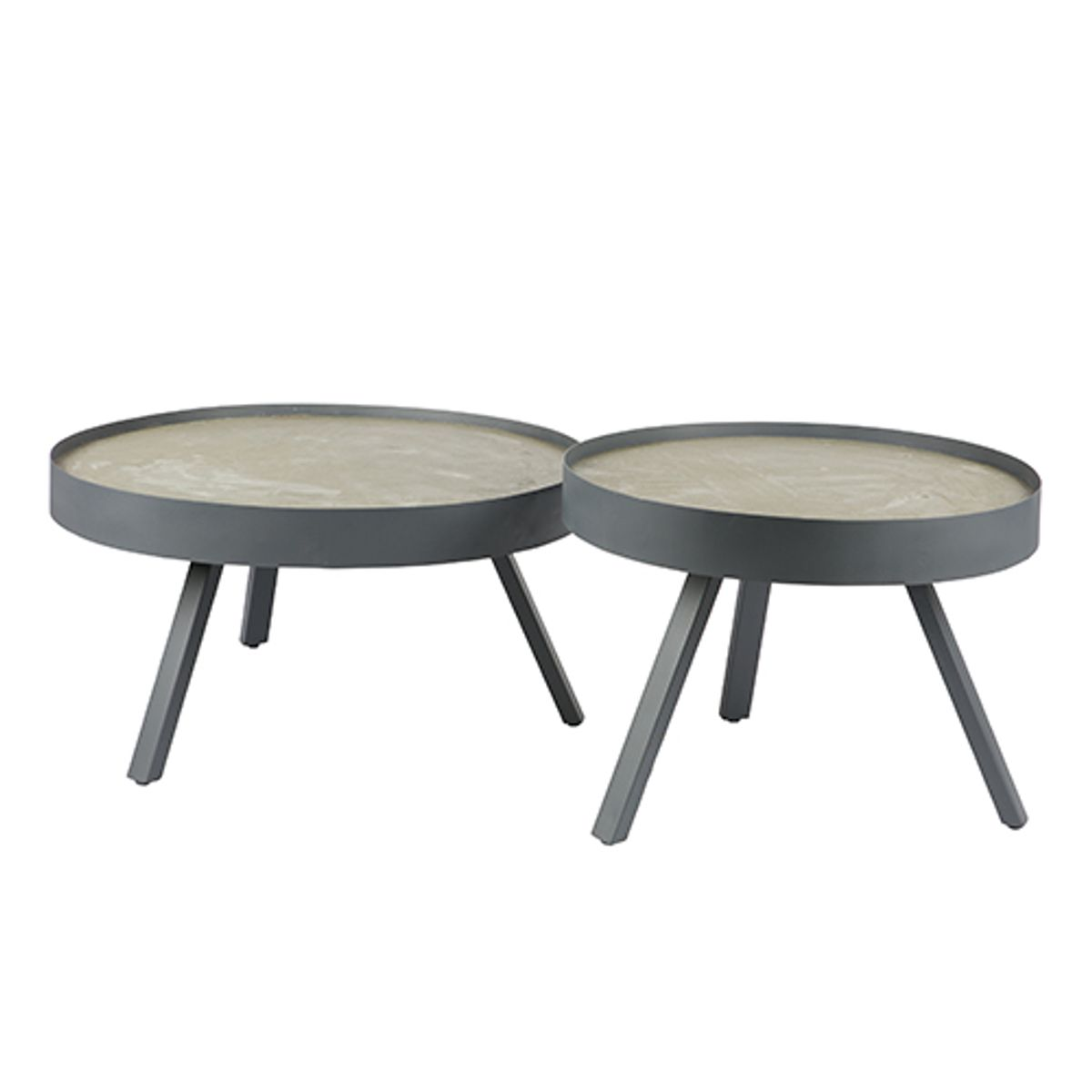 table basse ronde tripod grise avec plateau en b ton skip. Black Bedroom Furniture Sets. Home Design Ideas